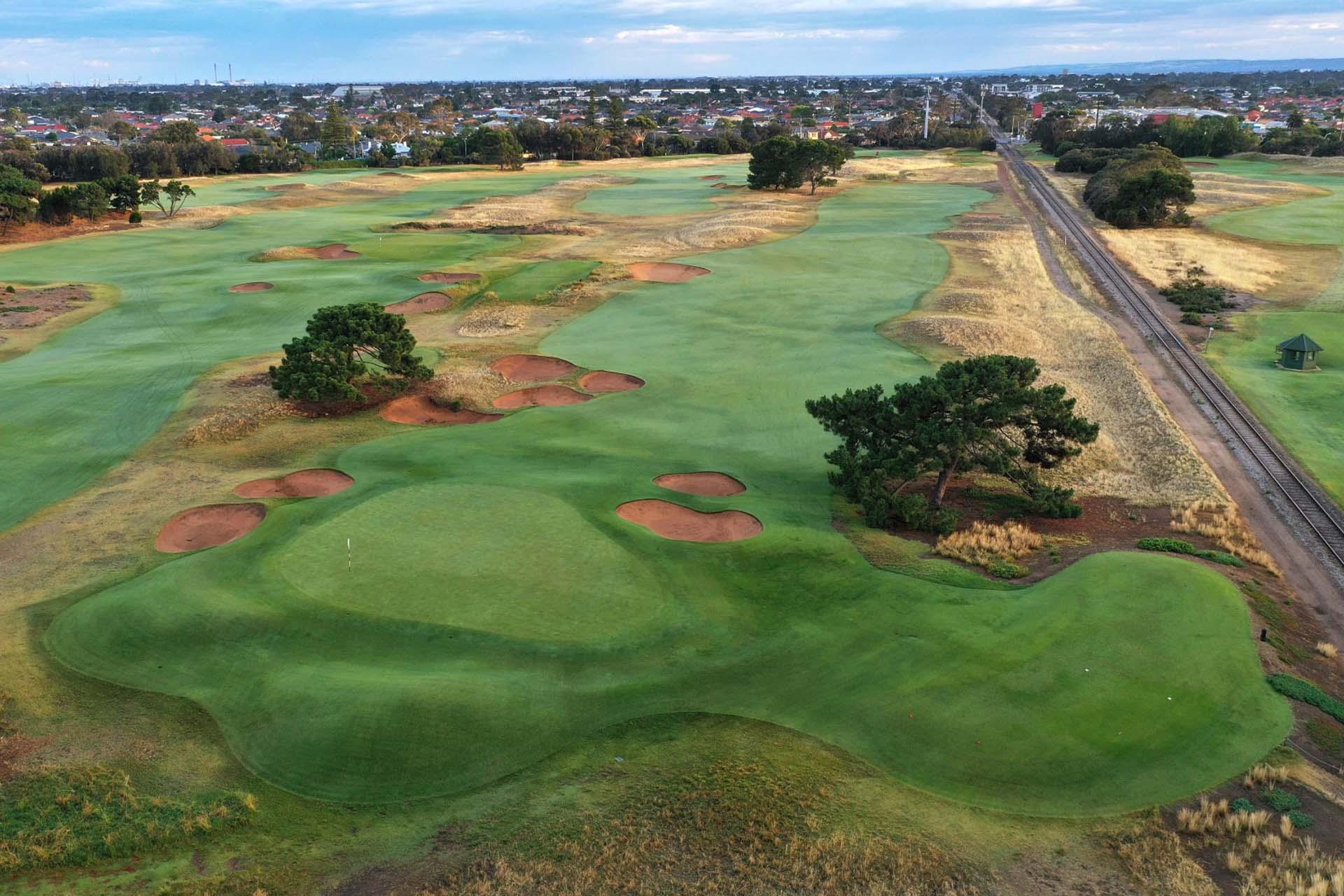 Royal Adelaide Golf Club - Par 5, 2nd Hole & Railway Line / Photo: Gary Lisbon Golf Photography